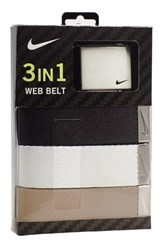 Men's Nike Web Belts Black White Beige 3 Pack
