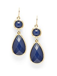 Saks Fifth Avenue Faceted Bead Drop Earrings Gold Blue