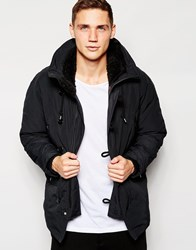 Franklin And Marshall Parka With Fleece Lined Hood Black
