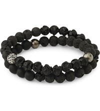 Nialaya Onyx Agate And Silver Beaded Bracelet Black