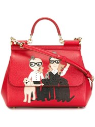 Dolce And Gabbana Designers Patch 'Sicily' Tote Red