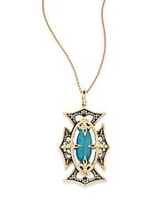 Armenta Old World Blue Opal Diamond 18K Yellow Gold And Oxidized Sterling Silver Cross Pendant Gold Blue