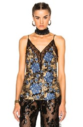 Rodarte Embroidered Floral Lace Camisole In Blue Metallics Floral Blue Metallics Floral