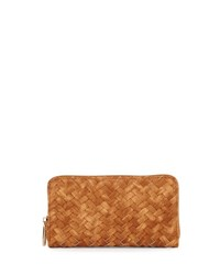 Neiman Marcus Basketweave Zip Around Wallet Honey