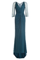 Jenny Packham Beaded Evening Gown Blue