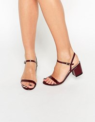 Asos Honeycomb Heeled Sandals Oxblood Patent Red