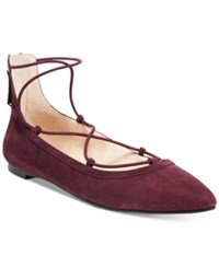 Inc International Concepts Women's Zachh Lace Up Flats Only At Macy's Women's Shoes Dark Plum
