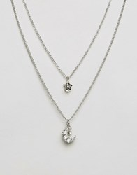 Lipsy Ditsy Two Row Flower And Star Necklace Silver