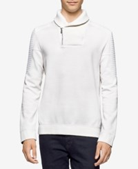 Calvin Klein Men's Quilted Fleece Shawl Collar Sweater A Macy's Exclusive Style White