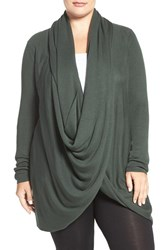 Nordstrom Plus Size Women's Lingerie Wrap Front Cardigan Green Wood
