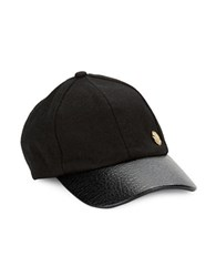 Vince Camuto Faux Leather Accented Baseball Cap Black