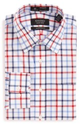 Nordstrom Men's Big And Tall Men's Shop Smartcare Tm Traditional Fit Check Dress Shirt Red Ribbon