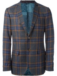 Etro Checked Blazer Blue