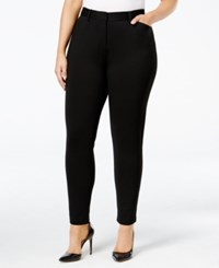 Calvin Klein Plus Size Ponte Skinny Compression Pants Black