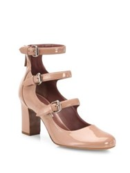 Tabitha Simmons Ginger Triple Strap Patent Leather Mary Jane Pumps Nude
