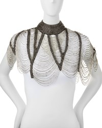 Beaded Fringe Neckpiece Black Haute Hippie