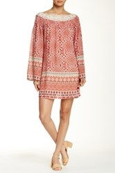 Want And Need Printed Bell Sleeve Peasant Dress Pink