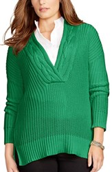 Plus Size Women's Lauren Ralph Lauren Cable V Neck Sweater Lakeview Green