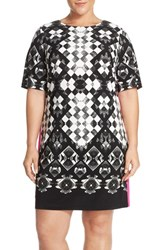 Eliza J Plus Size Women's Geo Print Jersey Shift Dress