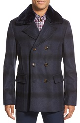 Ted Baker 'Arion' Slim Fit Double Breasted Peacoat With Genuine Shearling Collar Navy