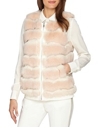 Catherine Malandrino Tiered Faux Fur Vest Blush Pink