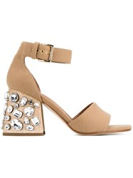 Marni Studded Heel Sandals Brown