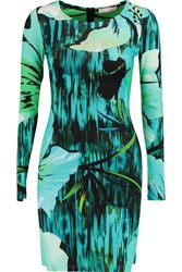 Matthew Williamson Printed Stretch Jersey Mini Dress Blue