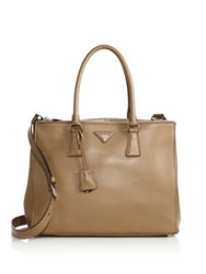 Prada City Calf Medium Double Zip Tote