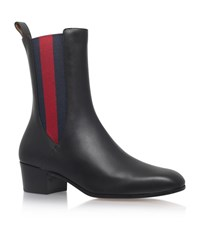 Gucci Karen Leather Ankle Boots Female Black