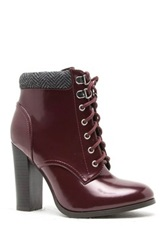 Qupid Reborn Lace Up Heeled Bootie Red
