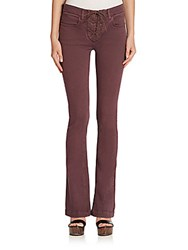 Etro Lace Up Flared Jeans Wine