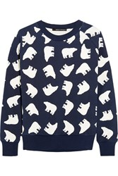 Perfect Moment Printed Cotton Terry Sweatshirt Navy