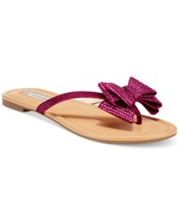 Inc International Concepts Women's Mabae Bow Flat Sandals Only At Macy's Women's Shoes Raspberry