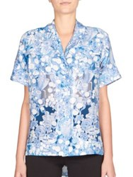 Carven Printed Button Down Blouse Blue