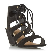 Head Over Heels Kadence Ghillie Lace Up Wedge Sandals Black