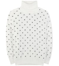 Giamba Angora Blend Turtleneck Sweater White