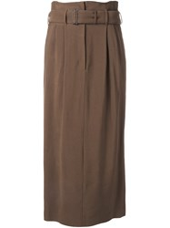 Rito Pleated Belted Skirt Brown