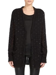 Saint Laurent Embellished Boyfriend Cardigan Black Grey