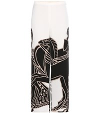 Tory Burch Trocadero Printed Satin Crepe Wide Leg Trousers Black