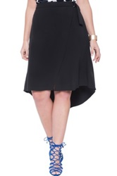 Eloquii Faux Wrap High Low Crepe Skirt Plus Size Black