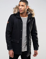 Bellfield Arctic Parka With Faux Fur Trim Black