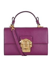 Dolce And Gabbana Lucia Embossed Leather Shoulder Bag Female Lilac