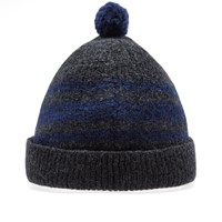 Nigel Cabourn Striped Pom Pom Hat Grey