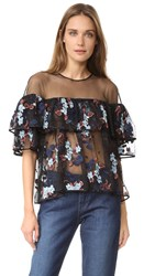 Cinq A Sept Korus Ruffle Top Slate Multi Black