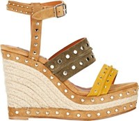 Lanvin Women's Studded Platform Wedge Sandals Yellow