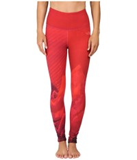 The North Face Super Waisted Printed Leggings Calypso Coral Mountain Print Women's Casual Pants Red