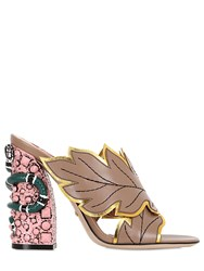Gucci 110Mm Webby Leaf Leather Sandals