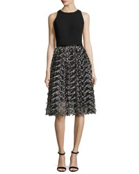 Carmen Marc Valvo Sleeveless Crepe And Embroidered Mesh Cocktail Dress Black Pewter Black Metallic