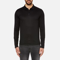 Hugo Men's Delato Long Sleeve Mercerised Polo Shirt Black