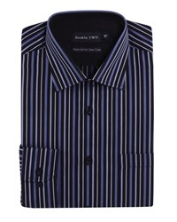 Double Two Men's Patterned Formal Shirt Black